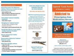 Opioid Task Force of Monroe County English Brochure April 2018