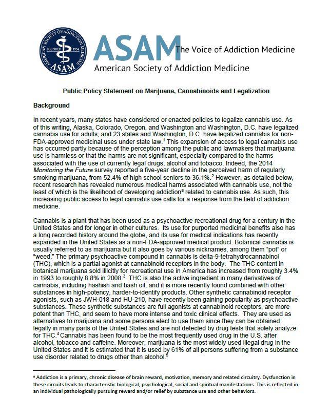 ASAM- marijuana policy