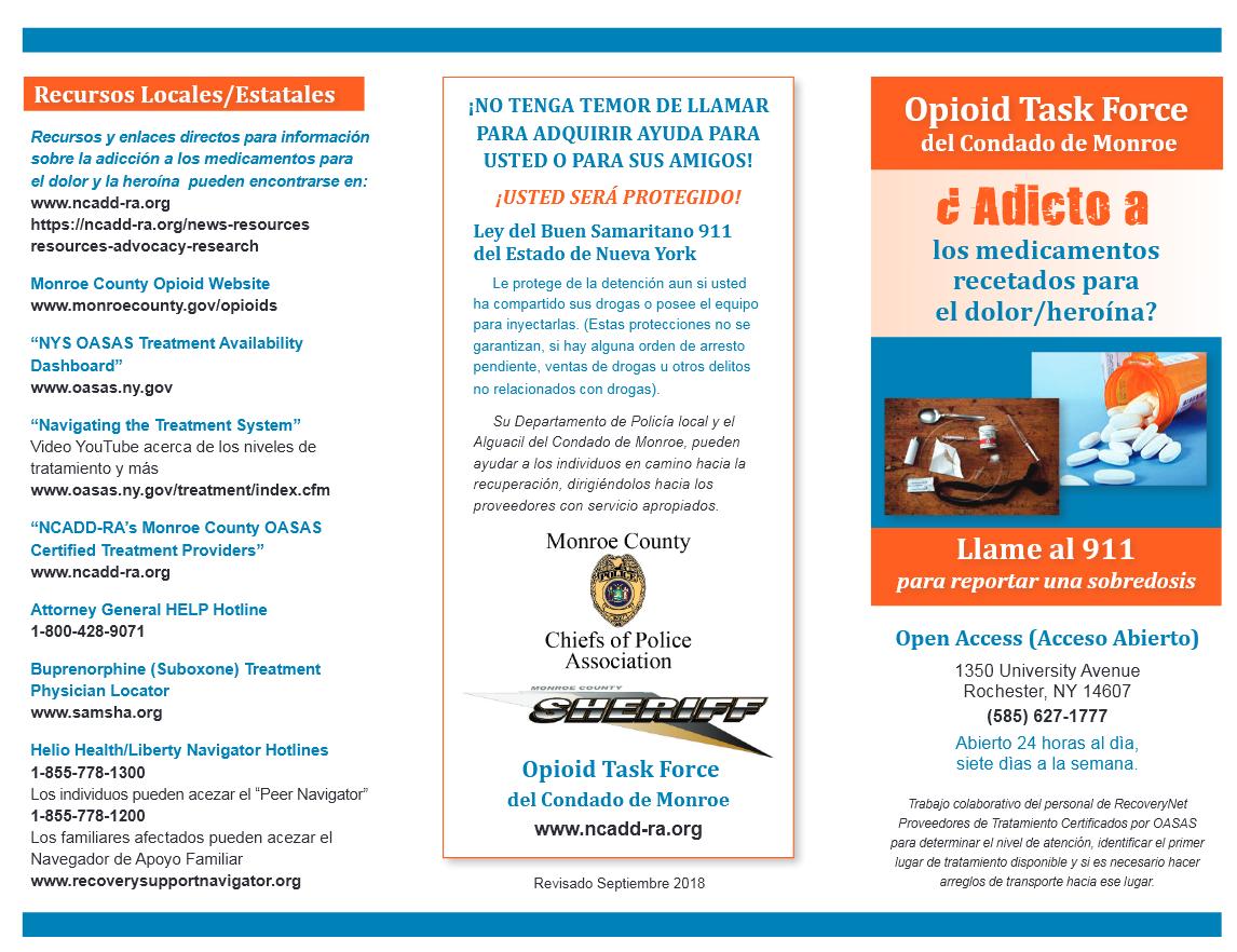 Opioid Task Force Of Monroe County Spanish Brochure