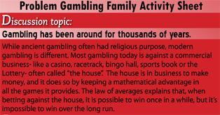 Problem Gambling Family Activity Sheet