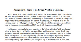 Recognize The Signs Of Underage Problem Gambling