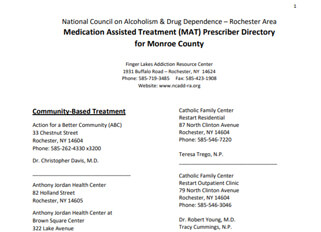 Medication Assisted Treatment (MAT) Prescriber Directory For Monroe County