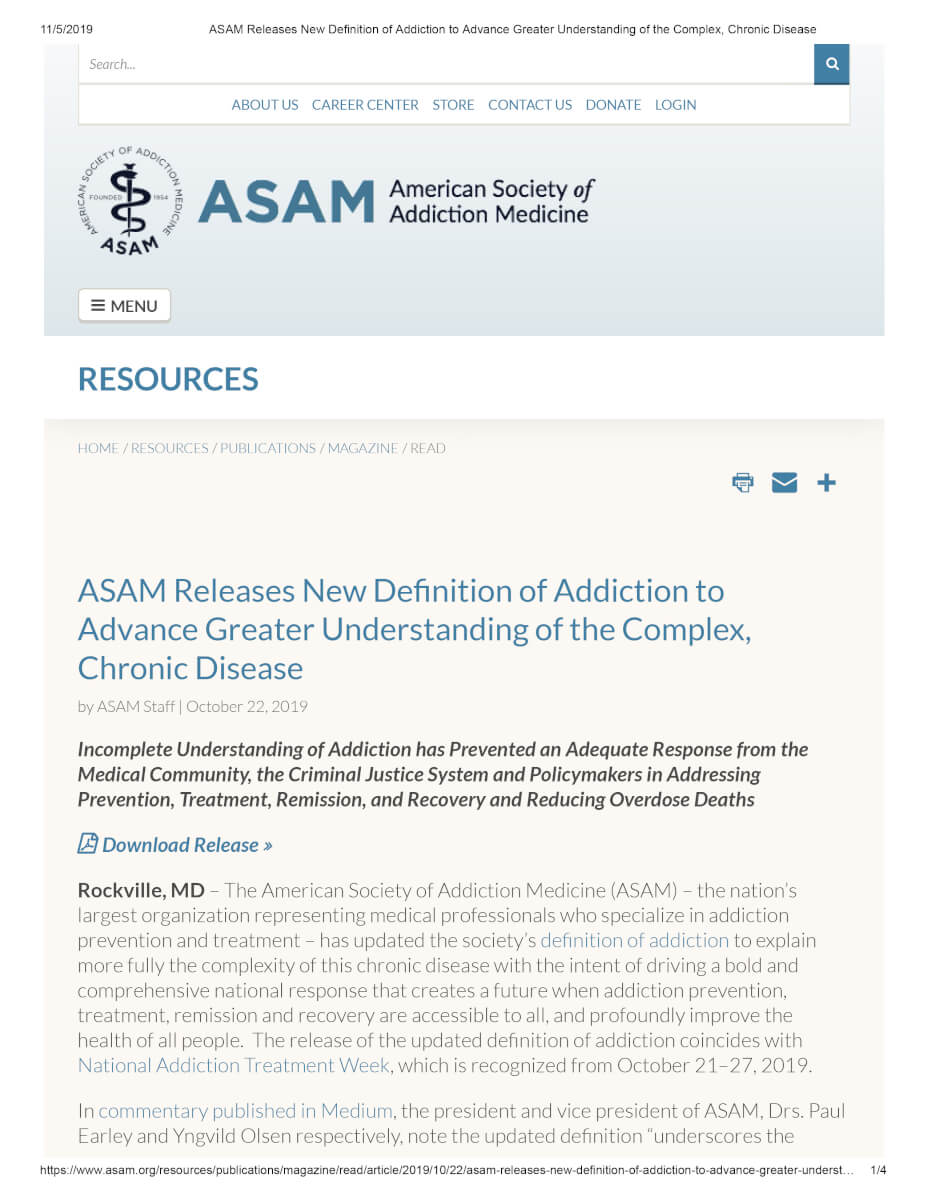 ASAM Releases New Definition Of Addiction To Advance Greater Understanding Of The Complex, Chronic Disease 1